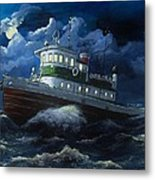 Tug Boat On Rough Water Metal Print by Virginia Sonntag