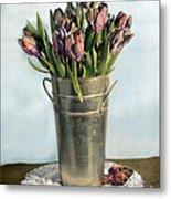 Tulips In Metal Vase Metal Print