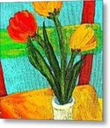 Tulips On A Chair Metal Print