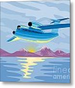 Turbo Jet Plane Retro Metal Print