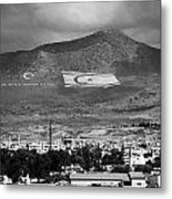 Turkish Symbols And Turkish Cypriot Flags In Besparnak Mountain Overlooking Nicosia Cyprus Metal Print