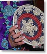 Turquoise And Navajo Wedding Basket Metal Print by Anne Gordon