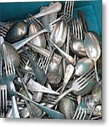 Turquoise Box Of Silverware Metal Print