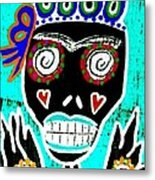 Turquoise Queen Sugar Skull Angel Metal Print