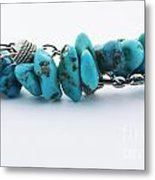 Turquoise Stones And Silver Chain Metal Print
