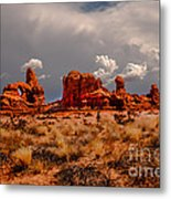Turret Arch And Storm Clouds Metal Print
