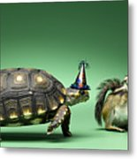 Turtle And Chipmunk Wearing Party Hats Metal Print