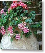 Tuscan Earthenware Pot And Flowers Metal Print