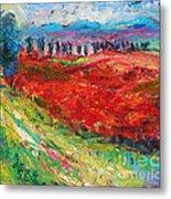 Tuscany Italy Landscape Poppy Field Metal Print
