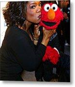 Tv Host Oprah Winfrey And Friend Elmo Metal Print
