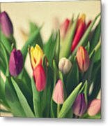 Twenty Colorful Tulips Metal Print