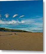 Twilight During A Sunset At A Beach With Beautiful Clouds Metal Print