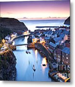 Twilight Glow Staithes Metal Print