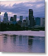 Twilight On The Bow River And Calgary Metal Print