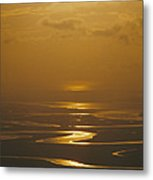 Twilight Over A Wetland With Meandering Metal Print