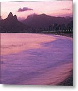Twilight View Of Ipanema Beach And Two Metal Print by Michael Melford