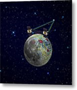 Twin Grail Spacecraft Map The Moons Metal Print