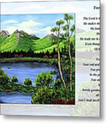 Twin Ponds And 23 Psalm On White Metal Print