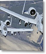 Two A-10c Thunderbolt II Aircraft Fly Metal Print