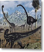 Two Allosaurus Predators Plan Metal Print