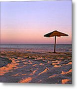 Two Beach Umbrellas Metal Print