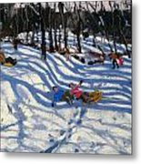 Two Boys Falling Off A Sledge Metal Print