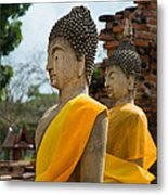 Two Buddha Statues Wrapped In An Orange Scarf  Metal Print