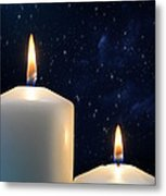 Two Candles With Star Of Bethlehem  Metal Print