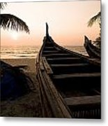 Two Canoes On The Beach At The Arabian Metal Print
