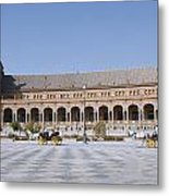 Two Carriages In Front Of The Spanish Square Metal Print