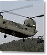 Two Ch-47 Chinook Helicopters In Flight Metal Print