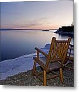 Two Chairs At Waters Edge Looking Out Metal Print by Susan Dykstra
