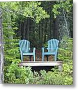Two Chairs Sit At A Lakeside Camp Metal Print