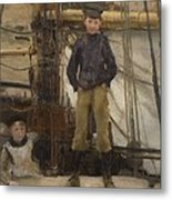 Two Children On Deck Metal Print