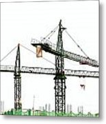 Two Cranes On A Construction Site Metal Print by Yali Shi