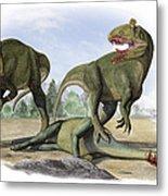 Two Cryolophosaurus Ellioti Dinosaurs Metal Print