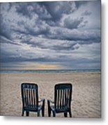 Two Deck Chairs At Sunrise On The Beach Metal Print
