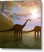 Two Diplodocus Dinosaurs Wade Metal Print