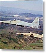 Two F-5e Tiger IIs In Flight Metal Print