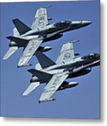 Two Fa-18c Hornets In Flight Metal Print
