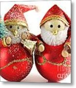 Two Father Christmas Decorations Metal Print