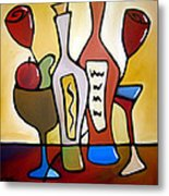 Two-fer - Abstract Wine Art By Fidostudio Metal Print by Tom Fedro - Fidostudio