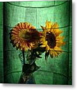 Two Flowers On Texture Metal Print