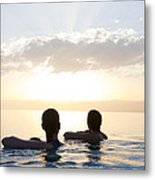 Two Friends Enjoy The Sunset Metal Print by Taylor S. Kennedy