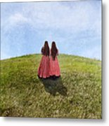 Two Girls In Vintage Dresses Walking Up Grassy Hill Metal Print