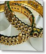 Two Green And Gold Bangles On Top Of Each Other Metal Print