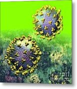 Two Hiv Particles On Bright Green Metal Print