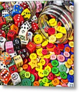 Two Jars Dice And Buttons Metal Print