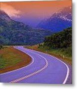 Two Lane Country Road In Mountains Metal Print