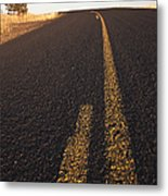 Two Lane Road Between Fields Metal Print